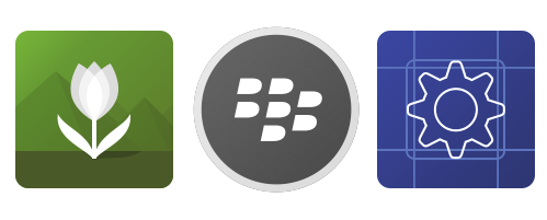 The Pictures, BlackBerry World, and Settings app icons.