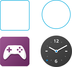 Diagram showing app icon shapes.