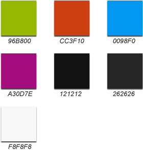 Diagram showing the colors used in BlackBerry application icons.