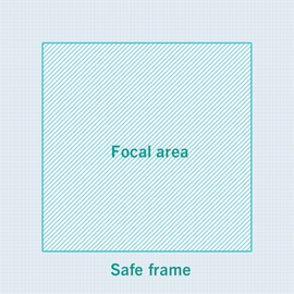 Diagram showing the focal area and the safe frame for an icon.